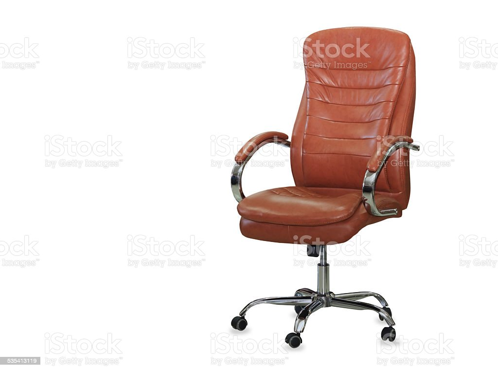 Modern Office Chair From Orange Leather Isolated Stock Photo Download Image Now Istock