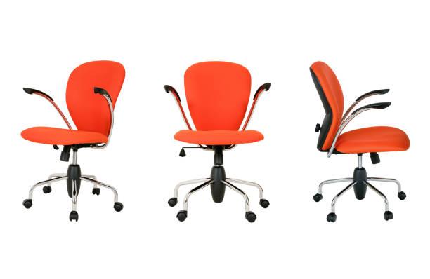 Modern office chair on white (set) stock photo