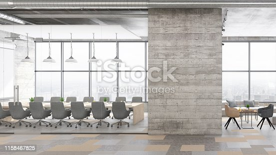 Contemporary open plan office interior with conference room and lobby. Window, office desk, chairs, projection screen, armchairs, coffee tables, pendant lamps, concrete walls and pastel colored floor. Template for copy space. Render.
