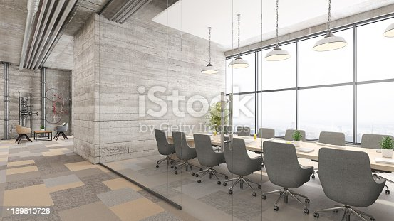 Contemporary open plan office interior with conference room. Window, office desk, chairs, corridor, pendant lamps, concrete walls, armchairs and coffee table. Template for copy space. Render.