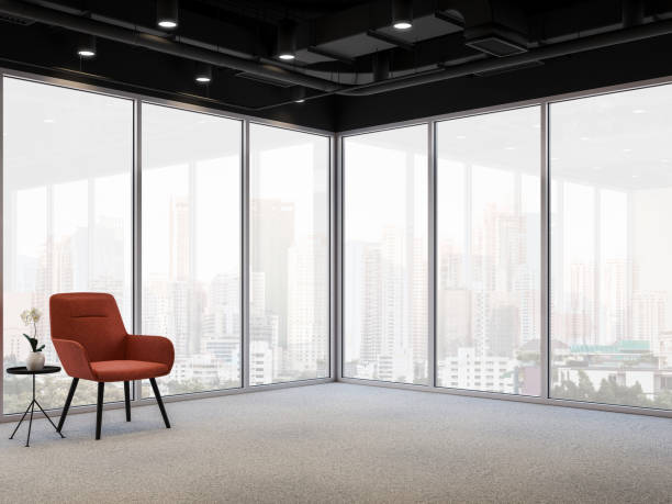 Modern office corner with city view 3d render stock photo