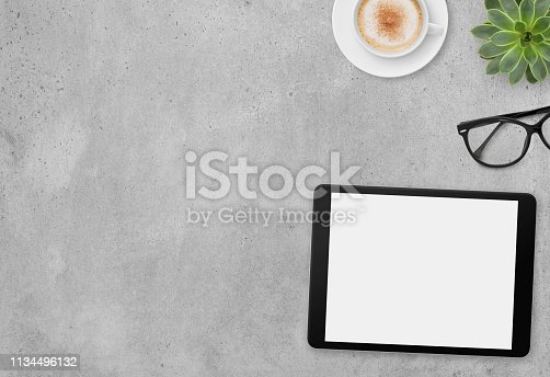 Modern Concrete Desk Background - Top View with Copy Space