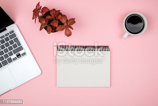 509867718istockphoto Modern office desk table with computer, blank notebook page and red plant. Top view with copy space 1137935033