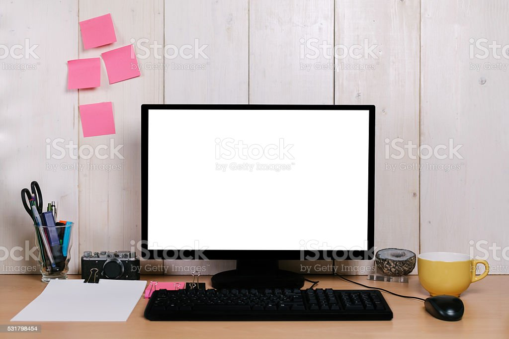 Photo de stock de bureau avec ordinateur de bureau moderne images