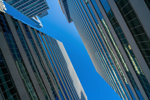 Modern office glasses buildings cityscape under blue clear sky in Washington DC, USA