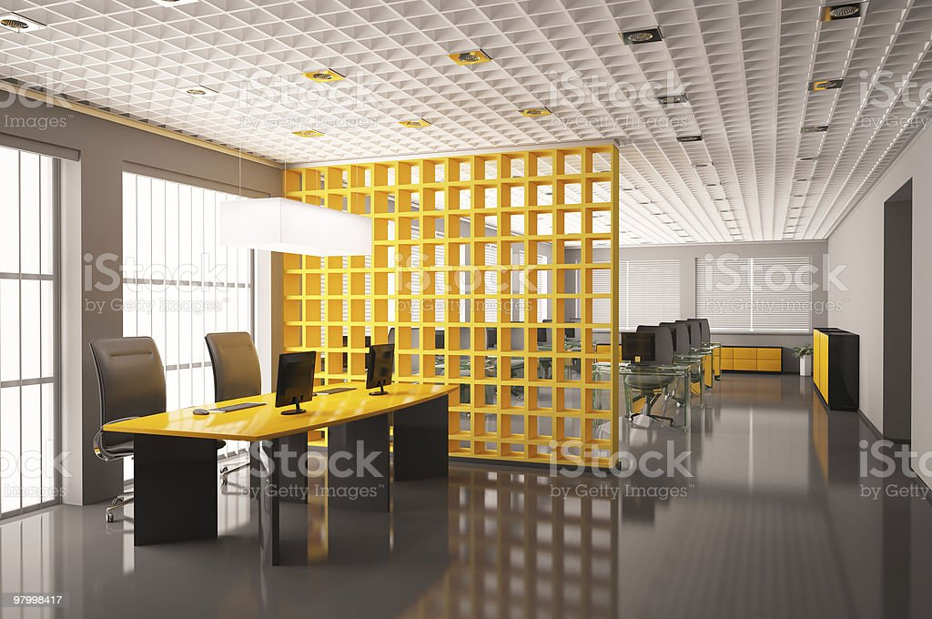 Modern office interior 3d render royalty-free stock photo
