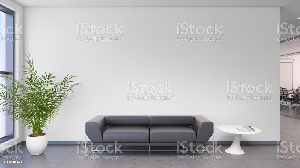 Photo de stock de canapé noir intérieur de bureau moderne devant