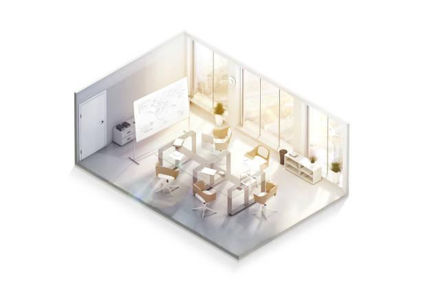 Maqueta de diseño de interiores de oficina moderna, vista isométrica - foto de stock