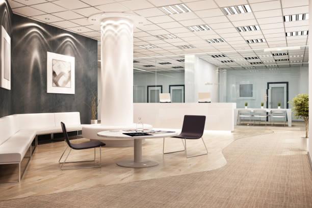 modern ofis iç tasarım - hotel reception stok fotoğraflar ve resimler