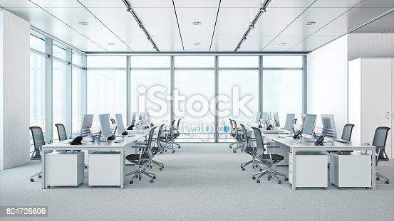 istock Modern Office Interior In Skyscraper 824726606
