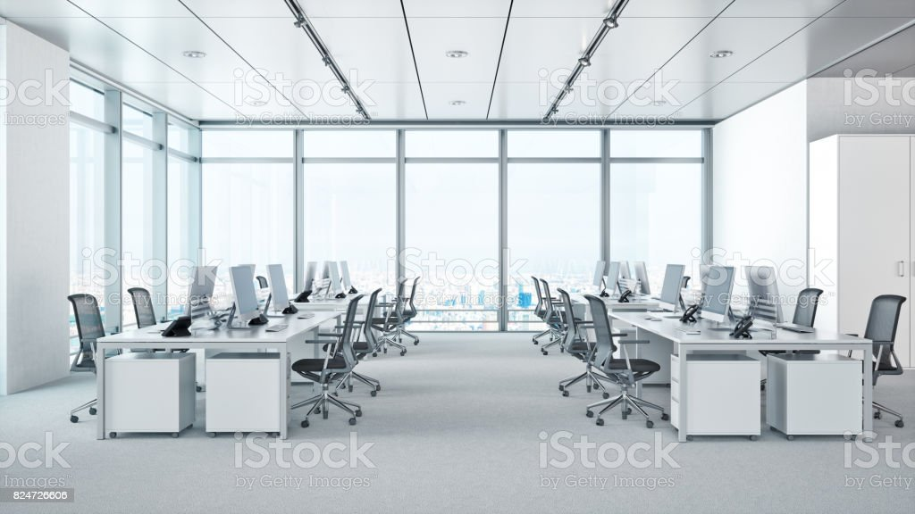 Modern Office Interior In Skyscraper stock photo