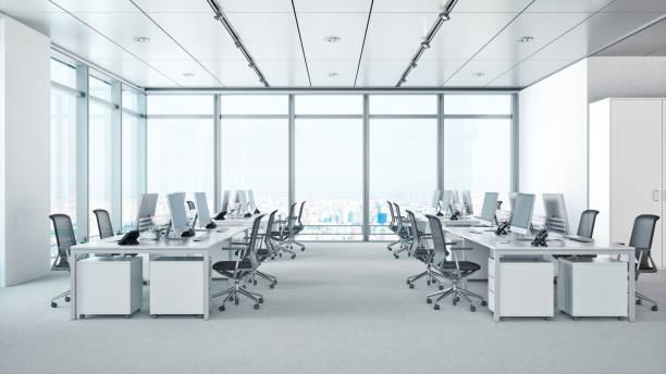 超高層ビルのモダンなオフィスのインテリア - オフィスチェア ストックフォトと画像