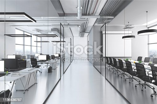 Modern office interior, many work stations with desktop computer and large projection screen. White floor and minimalist materials. no people, template copy space render