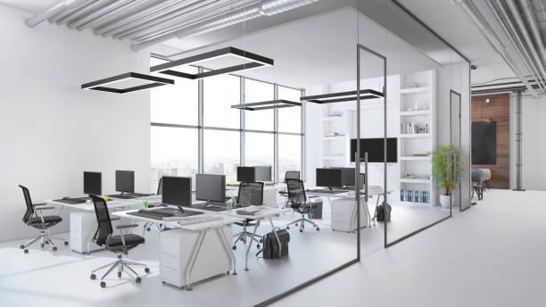modern office interior - grandangolo tecnica fotografica foto e immagini stock