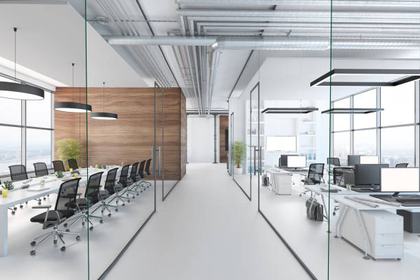 モダンオフィスインテリア - 廊下 ストックフォトと画像