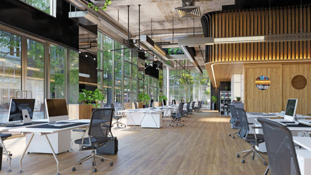 modern office interior, modern  office interior, 3d rendering business concept design coworking stock pictures, royalty-free photos & images