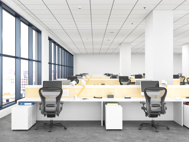 Modern Office Interior Modern Office Interior empty desk stock pictures, royalty-free photos & images
