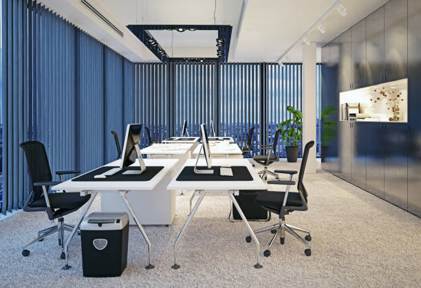 modern office interior. - blinds stock pictures, royalty-free photos & images