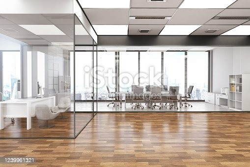 1147023758 istock photo Modern Office Interior with Board Room 1239961321