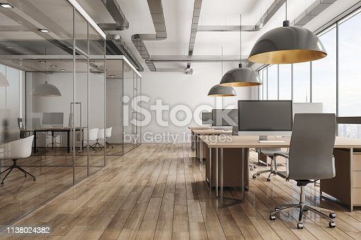 Modern office interior with daylight and city view. 3D Rendering