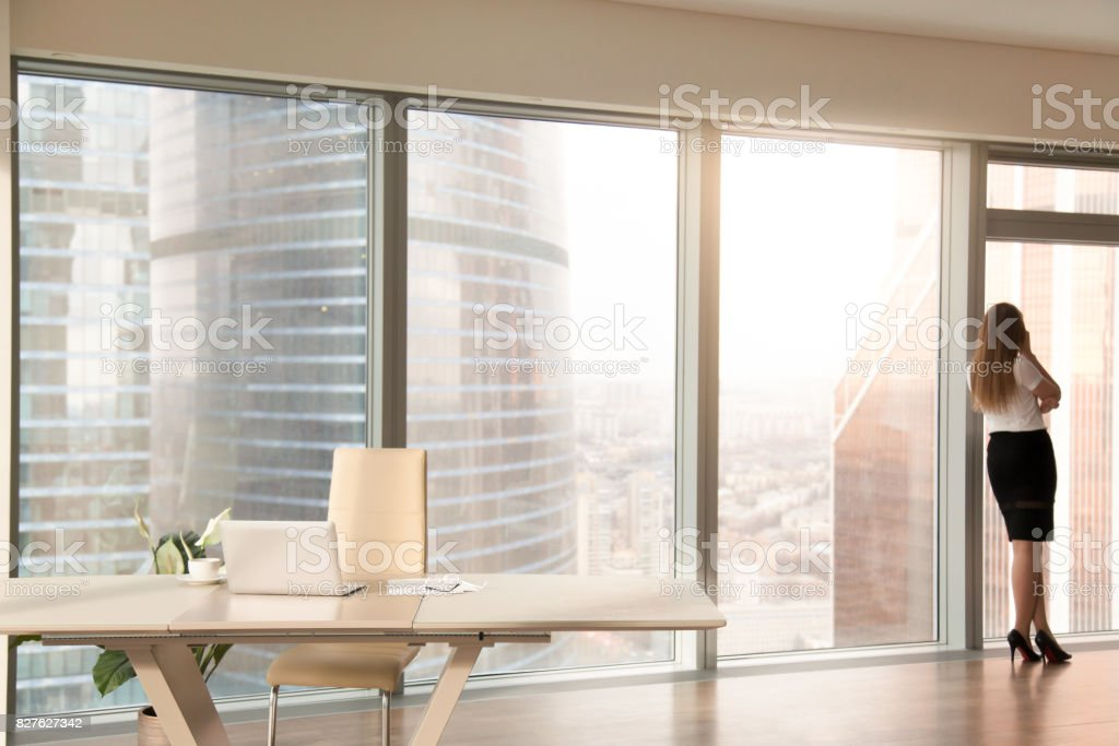 Modern office interior with female silhouette standing at full-length window stock photo