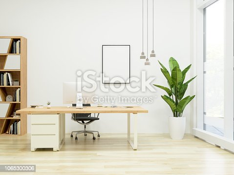 Modern Office Interior with Frame showing blank screen