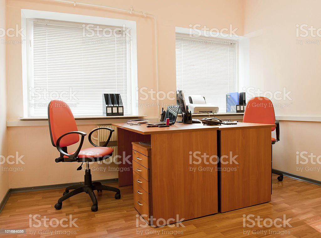 Modern office interior - workplace royalty-free stock photo