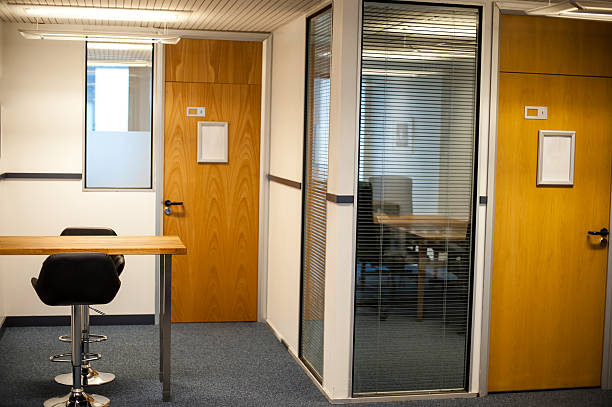 Modern office interiors and cabins stock photo