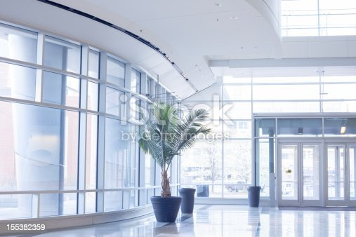 The lobby of a building in bright sunlight.  The walls are almost completely covered in windows, and the metal frames and door's are white.  The floor is reflective and there are three pots, one of them with a large plant in it.