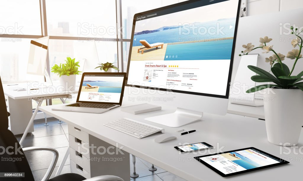 Photo de stock de appareils à écran bureau moderne luxe hôtel
