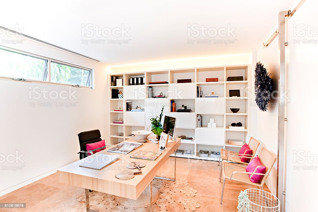 Modern office or workplace with a rack and wooden floor stock photo