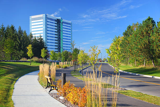 Modern Office Park and Access Road stock photo