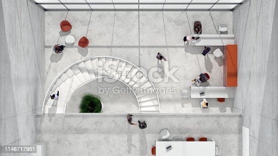 People working in a modern office building. All the elements in the environment are 3D