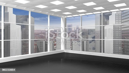 Interior of an empty office/apartment with window and cityscape view