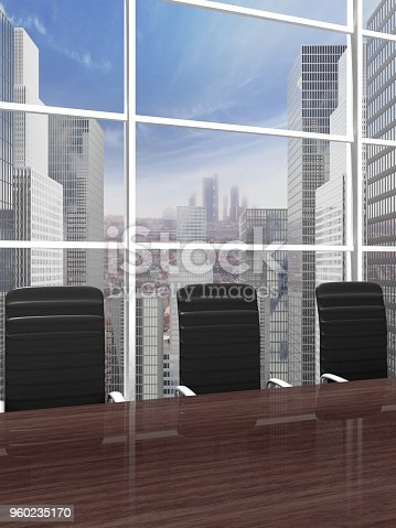 Interior of a modern office meeting room with window and cityscape view closeup