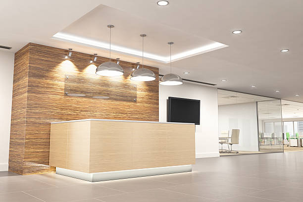 modern office reception - receptionist stock photos and pictures