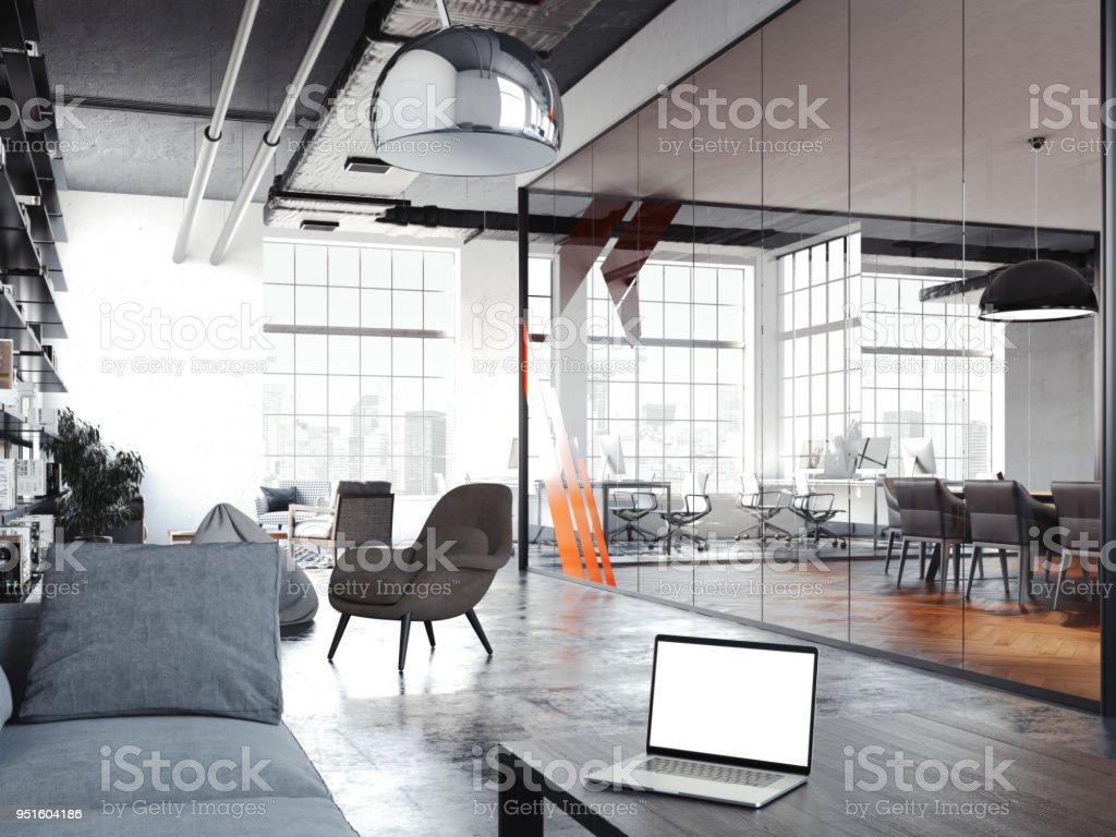 Salle de bureau moderne pour le repos avec parois en verre