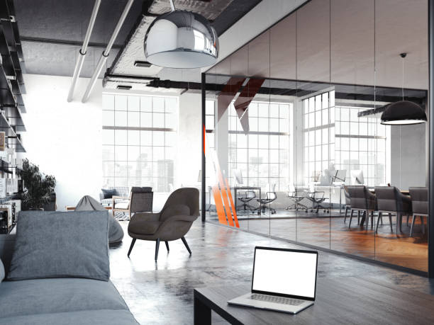 Modern office room for rest with transparent glass walls, 3d rendering Modern office room for rest with transparent glass walls, dark table and laptop above, dark chairs and and black book rack, 3d rendering coworking stock pictures, royalty-free photos & images