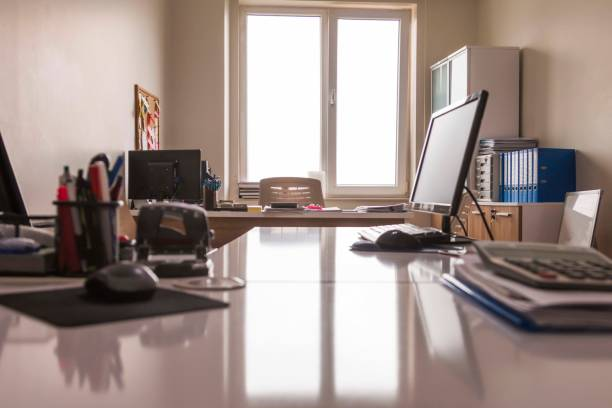 Modern Office Room Modern Office Room empty desk stock pictures, royalty-free photos & images