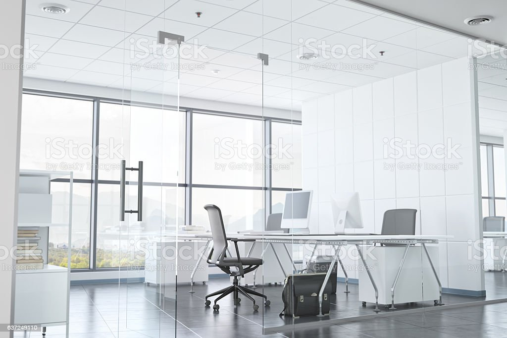 Modern Office Room With Glass Walls stock photo