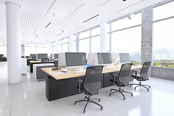 moderne arbeitsbereich - stuhl neu gestalten stock-fotos und bilder