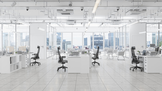 Modern Office Space With Waiting Room, Board Room And Cityscape Background