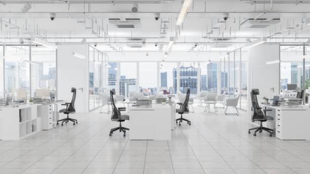 待合室、ボードルーム、街並みの背景を持つモダンなオフィススペース - オフィス ストックフォトと画像
