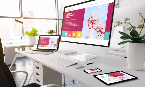 modern office white screen devices. - web designer stock photos and pictures