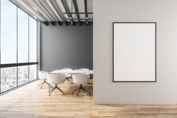 Modern office with banner stock photo