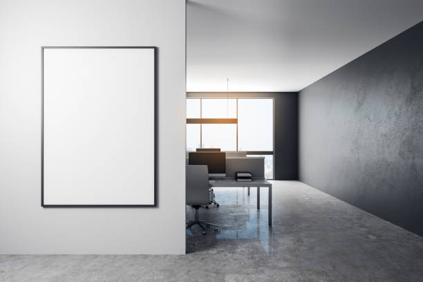 Modern office with empty billboard stock photo