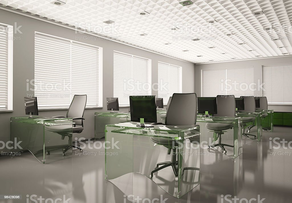 Modern office with glass tables 3d royalty-free stock photo
