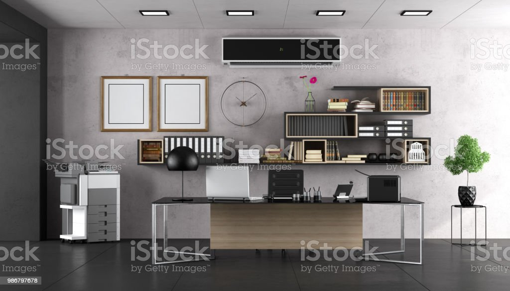 Modern office with large desk - foto stock