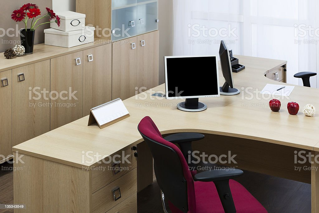 Modern office with open space comfortable work stations royalty-free stock photo
