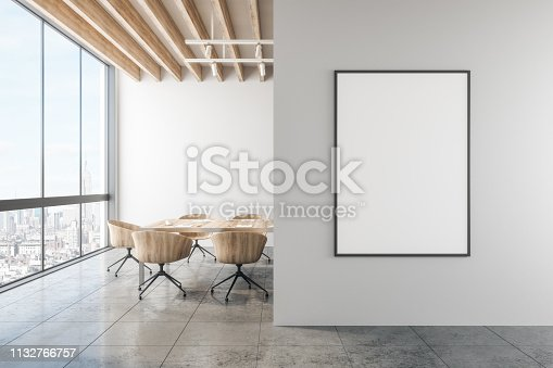 Modern office with empty poster on wall and city view. Mock up, 3D Rendering